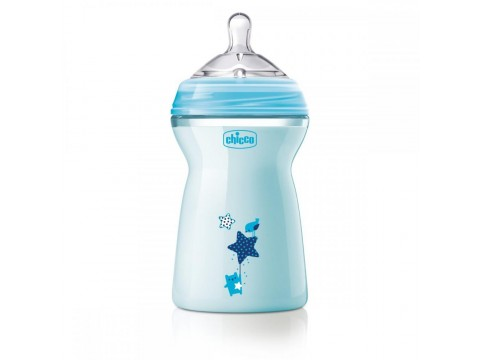 Biberon Chicco Natural Feeling, bleu, 330ml, t.s., 6luni+, 0%BPA