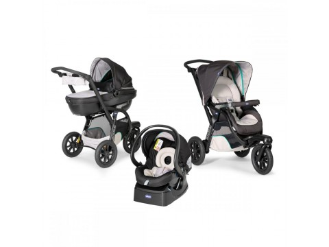 Carucior Chicco Trio Activ3, Car Kit, 0+luni, Dune
