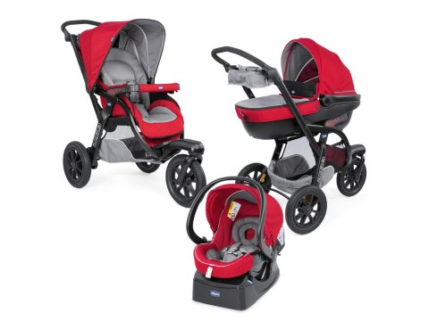 Carucior Chicco Trio Activ3, Car Kit, 0+luni, Red Berry