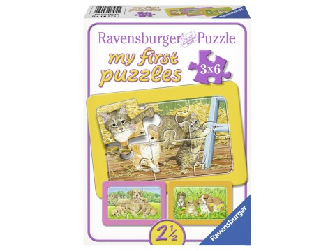 Primul Meu Puzzle Animalute, 3X6 Piese