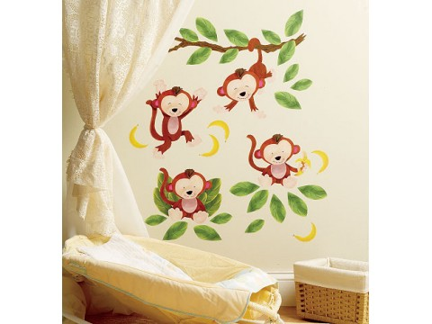 Sticker Decorativ Baby Monkeys